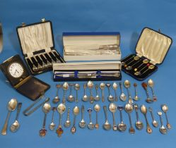 A collection of silver Souvenir Spoons, some with enamel finials etc., approx 30, together with a