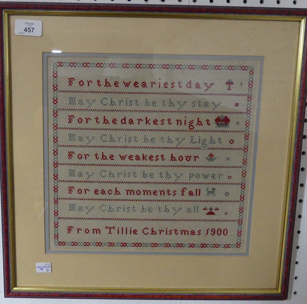 A framed and glazed commemorative Embroidery, commemorating forty years since the end of WWII, - Image 2 of 2