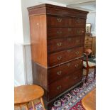 A George III mahogany Chest on Chest, the moulded dentile cornice above two short on five long