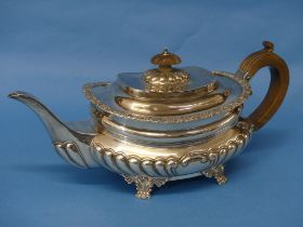 A late Victorian silver Teapot, by Charles Stuart Harris, hallmarked London, 1897, of ovoid form