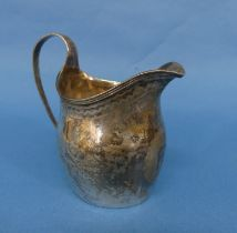 A George III silver Cream Jug, marks probably for Francis Parsons, Exeter, of ovoid form with reeded