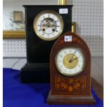 A handsome Victorian black slate Mantel Clock, the eight day movement striking on a bell, 14in