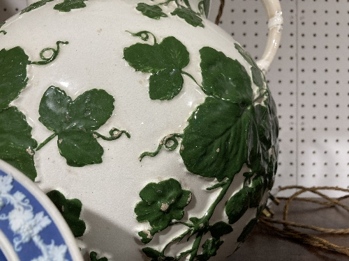 A large late 19thC Staffordshire pottery Mug, with banded decoration, 8in (20cm) high, firing cracks - Image 8 of 9