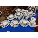 A Royal Albert 'Moonlight Roses' pattern part Dinner and Tea Service, to include a 'Posy Bowl' , sic