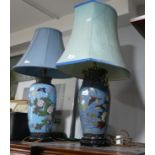 Two early 20thC Japanese Cloisonne vases, later turned into lampbases, each blue ground decorated