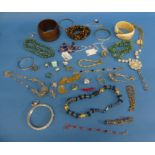 A quantity of Costume Jewellery, including some Swarovski, a tigers eye shard necklace, paste set