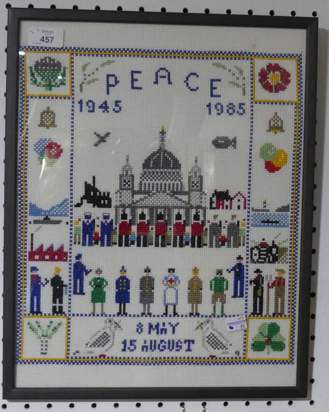 A framed and glazed commemorative Embroidery, commemorating forty years since the end of WWII,