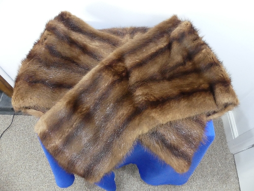 A vintage dyed mahogany brown Canadian squirrel fur Stole.