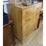 An antique pine Chest of Drawers, the four long drawers graduating in size raised on bracket feet,
