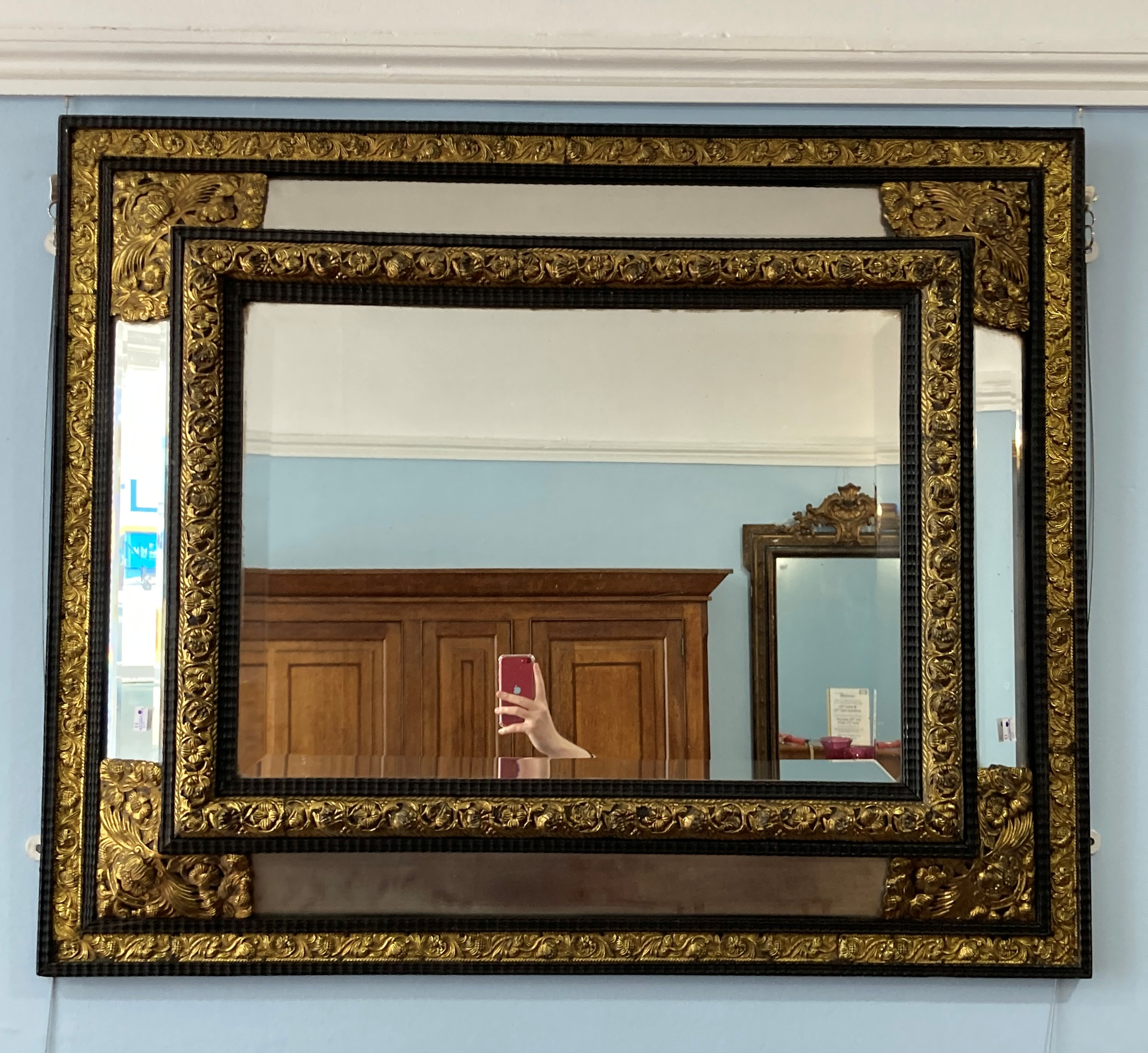An early 20thC ornate rectangular five-plate bevelled edged Wall Mirror, the frame formed of - Image 2 of 4