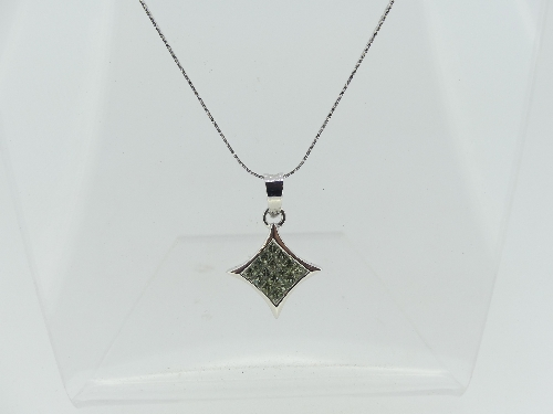 A contemporary 18ct white gold diamond shaped Pendant, the centre with sixteen small pale green - Image 2 of 2