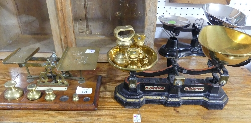 A Victorian set of brass Postal Scales, and weights (1oz and ¼oz missing) a set of vintage scales by
