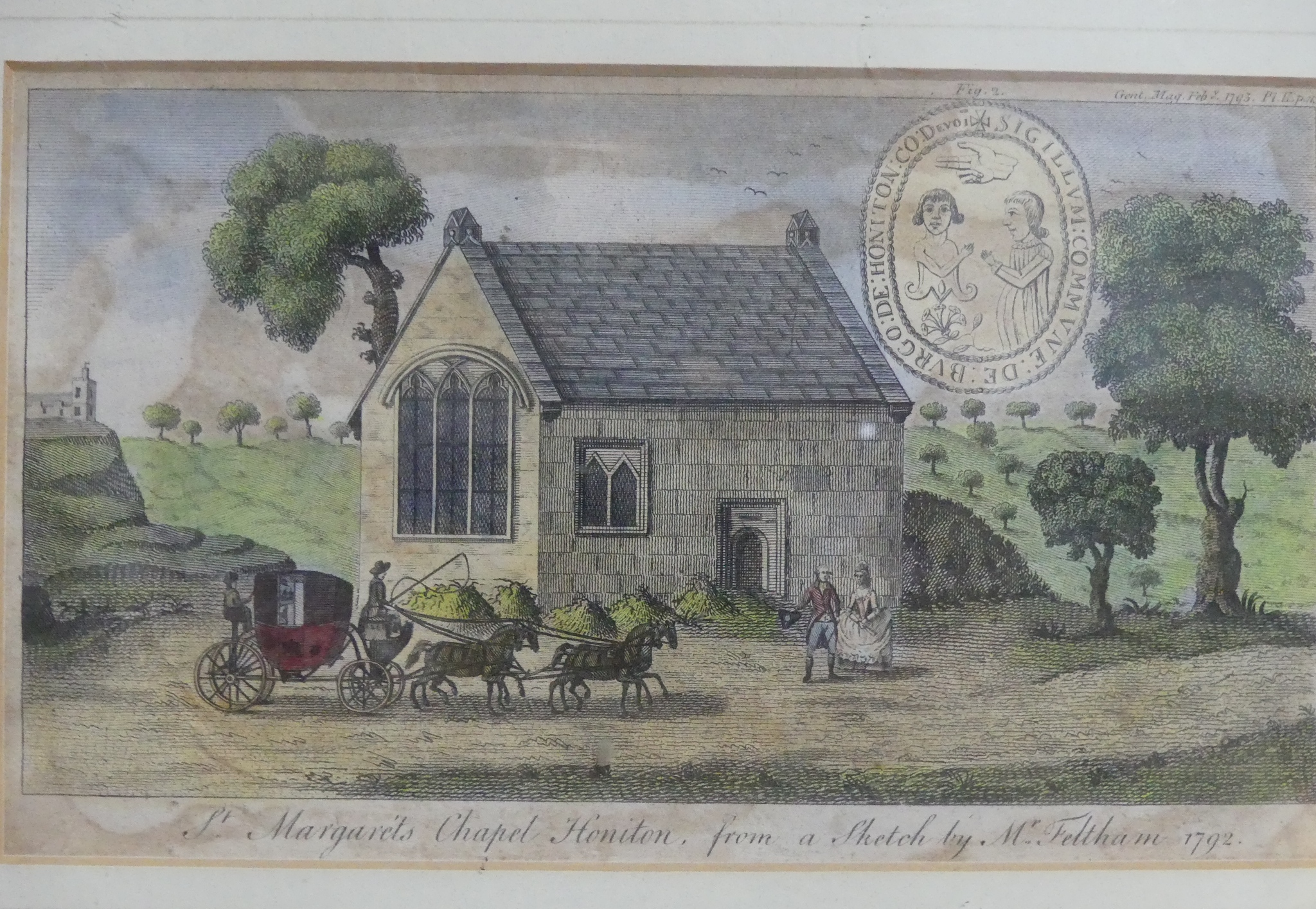 Honiton interest: an antiquarian print of 'St Margaret's Chapel Honiton, from a sketch by Mr - Image 2 of 3