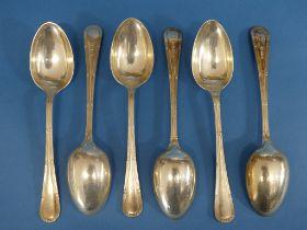 A set of six George V sivler Dessert Spoons, by William Hutton & Sons Ltd., hallmarked Sheffield,