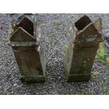 A pair of Victorian terracotta Gothic-style Chimney Pots, one damaged at top, 33in high x 12½in wide