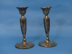 A pair of Elizabeth II silver Candlesticks, by Barker Ellis Silver Co., hallmarked Birmingham, 1970,
