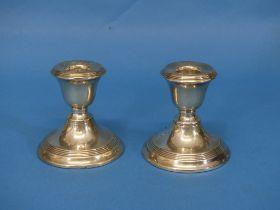 A pair of George VI short silver Candlesticks, by Joseph Gloster Ltd., hallmarked Birmingham,