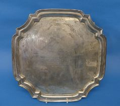 A George VI silver Salver, by A E Poston & Co Ltd., hallmarked Sheffield, 1946, of square shape with