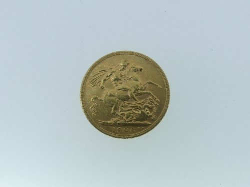 An Edwardian gold Sovereign, dated 1906.