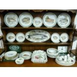 A Portmeirion pottery 'The Complete Angler British Fishes' fifteen piece part-service, and a set