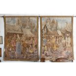 A pair of machine made Belgian 'Metrax' hanging tapestries depicting medieval continental market