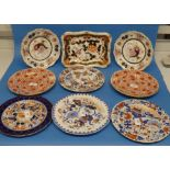 A small quantity of early 19thC Ironstone Plates, mostly Masons, including two Imari pattern