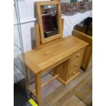 A good quality modern light wood Desk/Dressing Table, with removable mirror and three side
