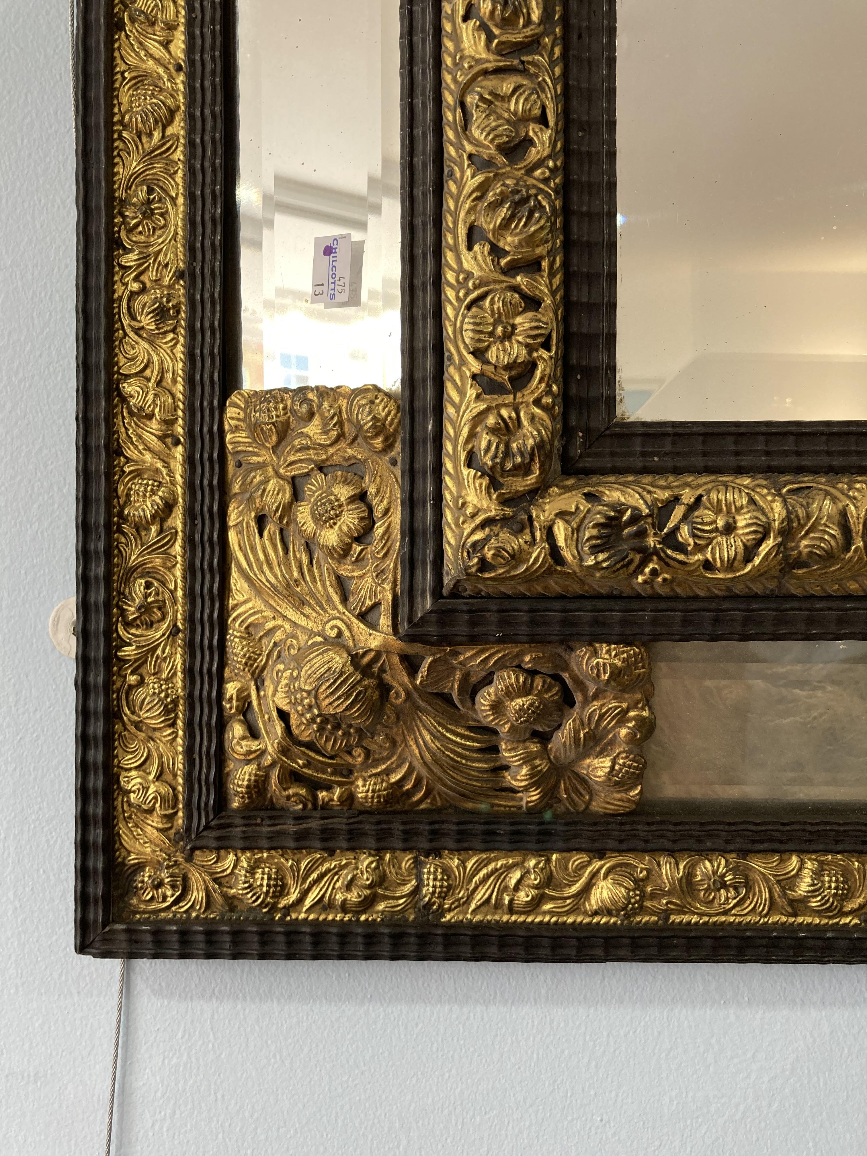 An early 20thC ornate rectangular five-plate bevelled edged Wall Mirror, the frame formed of - Image 3 of 4