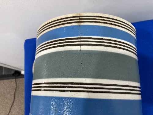 A large late 19thC Staffordshire pottery Mug, with banded decoration, 8in (20cm) high, firing cracks - Image 6 of 9