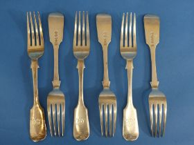 A set of six Victorian silver Forks, by Josiah Williams & Co., hallmarked Exeter, 1855, fiddle
