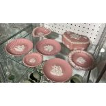A small quantity of Wedgwood Jasperware, all of pink ground, to include six Trinket Dishes, one