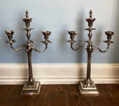 A pair of silver plated three light Candelabra, by James Dixon & Sons, in a classical style with