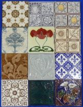 A large quantity of Victorian and later Tiles,including three by Minton, one in decorated with