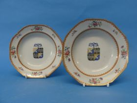 A pair of 18thC Chinese Export Armorial Porcelain Plates,of octagonal form, banded with red and