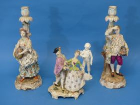 A pair of 19thC Volkstedt-Rudolstadt porcelain Figural Candlesticks, with blue painted mark to base,