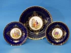A large Vienna Porcelain Plate, together with two others, finely decorated with central classical