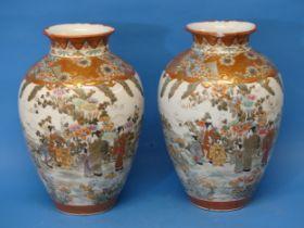 A pair of large 19thC Japanese Kutani Vases,the orange ground decorated with panels depicting