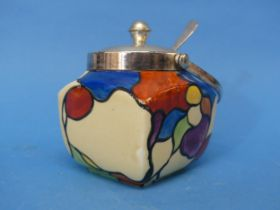 A Clarice Cliff 'Patchwork Leaves' Preserve Pot,the plated handled lid and spoon, with body