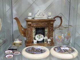A quantity of Mixed Ceramics, including two Victorian Potlids, a Portmeirion 'Fireplace Teapot' (