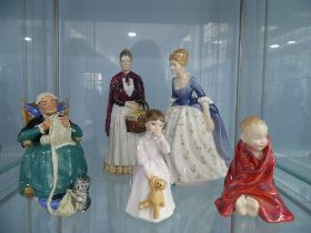 A Royal Doulton 'Twilight' Figure, together with 'Alison', 'Daddy's Girl', 'The Little Pig' all with