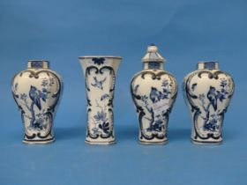 An antique Chinese-style Blue and White Vase and Cover,marked V&B, probably Villeroy and Boch, to