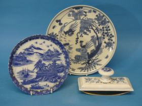 A 19thC Chinese blue and white Plate,decorated with cranes and foliate decoration, together with