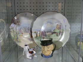 A small quantity of Royal Doulton; including Seriesware plates, Toby Jug and a small Doulton dog (