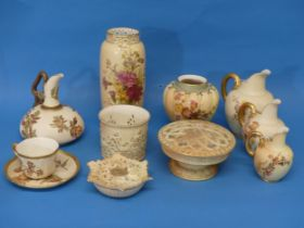 A Royal Worcester Blush Ivory Squat Jug,with stylised flowers, shape 1048, together with a Blush