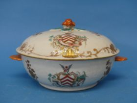 An 18thC Chinese Export Armorial porcelain Soup Tureen,decorated with gilt floral sprays, with