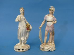 A pair of Continental porcelain Figures,one depicted as a soldier, one repaired, with crossed lines