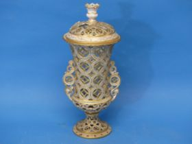 A rare early 20thC Royal Crown Derby reticulated Urn,the twin-handled body, decorated in gilt bands