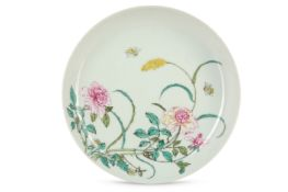 A CHINESE FAMILLE ROSE PINK-BACKED DISH.