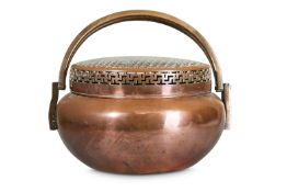 A LARGE CHINESE COPPER ALLOY HANDWARMER AND COVER.