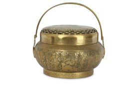A CHINESE BRONZE 'EIGHT IMMORTALS' HANDWARMER AND COVER.